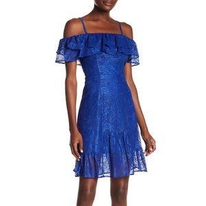 💖 KENSIE OFF THE SHOULDER RUFFLE LACE DRESS